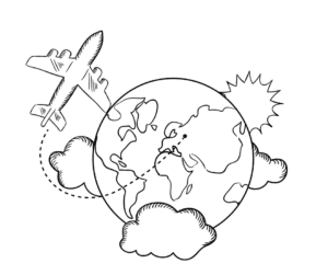 cartoon of plane flying around the world
