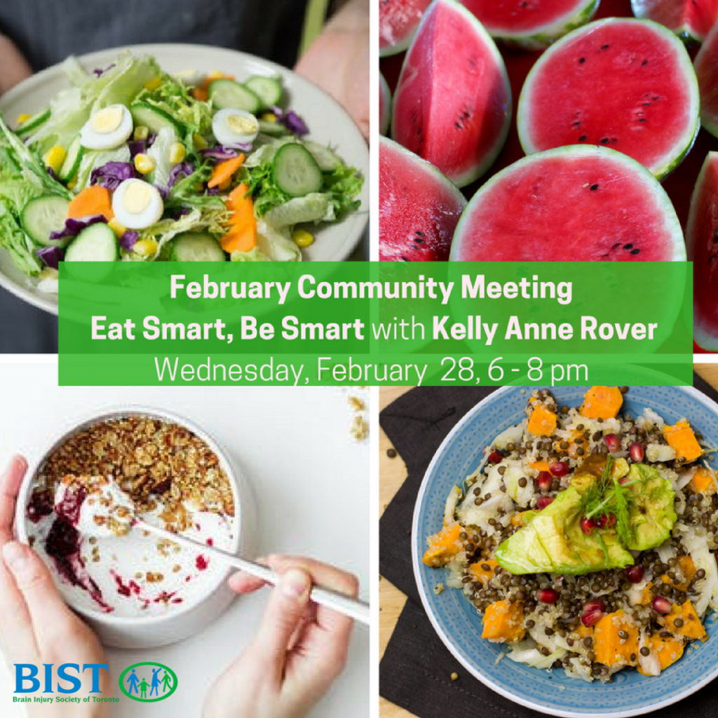 February 2018 Community Meeting, Eat Smart Be Smart with Kelly Anne Rover, February 28 8-8 pm