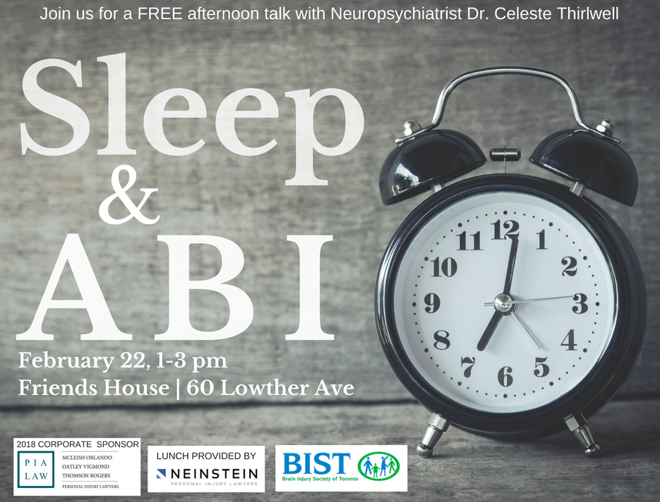 February 22 1-3 pm Sleep and ABI Workshop with Dr. Thirlwell
