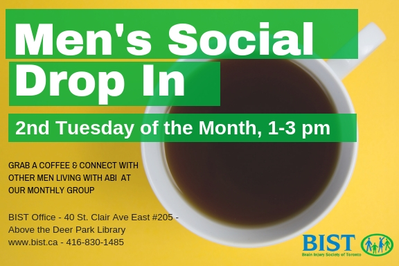 Men's Social Drop In, 2nd Tuesday of the month, 1-3 pm