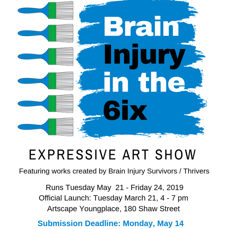 Brain Injury in the 6ix Expressive Art Show Runs May 21 - Friday May 24 2019 at the Artscape Youngplace 180 Shaw Street